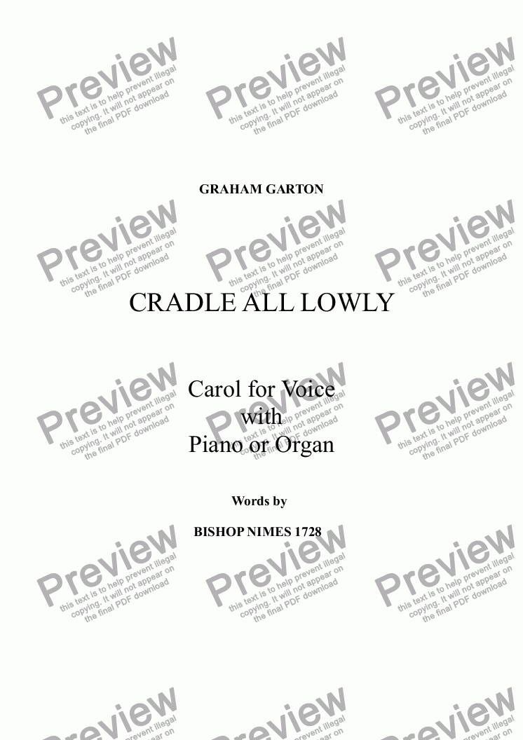 page one of CAROL - 'CRADLED ALL LOWLY' for Soprano or Tenor Voice with Piano or Organ