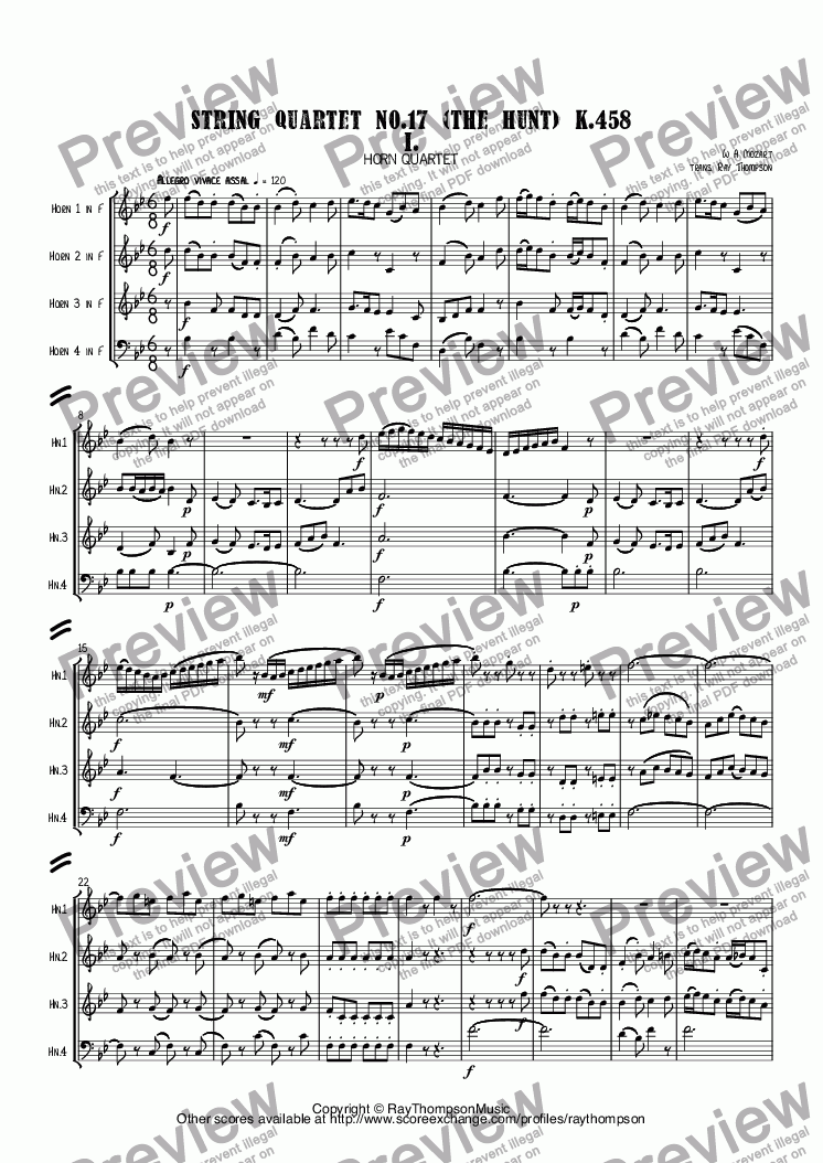 "page one of Mozart: ""The Hunt"" (String Quartet No.17  K.458 in Bb) Mvt. I. arr. horn quartet"