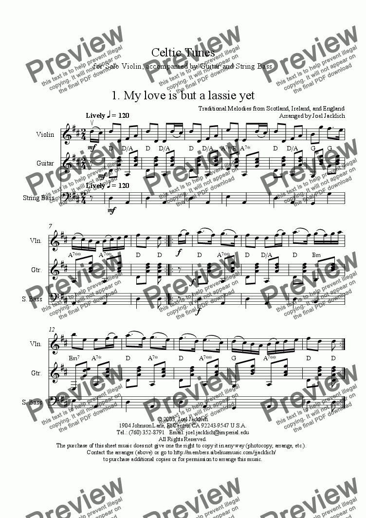 page one of Celtic Medley No. 1 for Solo Violin with Guitar and String Bass accompaniment