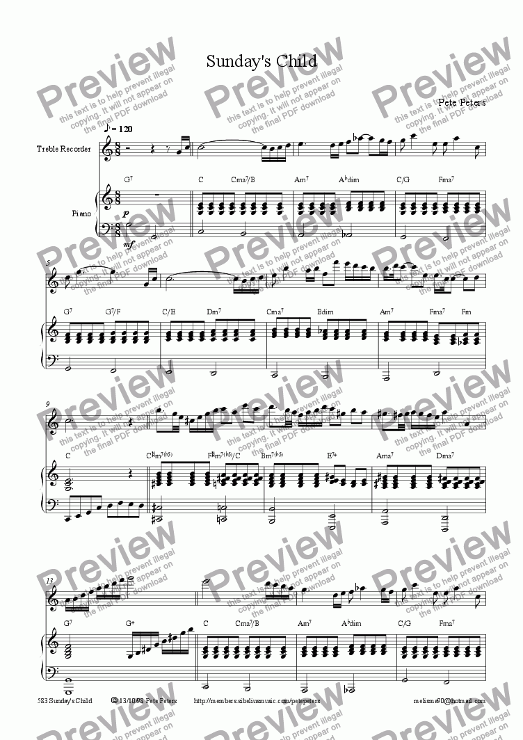 page one of Sunday's Child [7 of 8] Treble rec or Flute + Piano