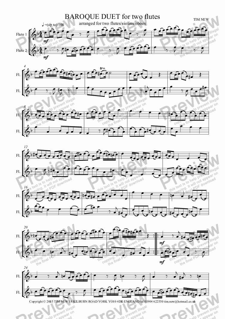 page one of BAROQUE DUET for two flutesASALTTEXT