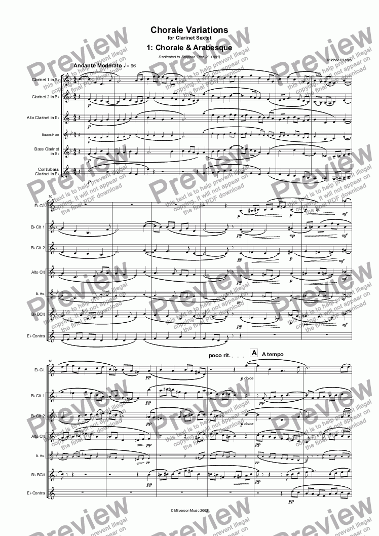 page one of Chorale Variations for Clarinet Sextet