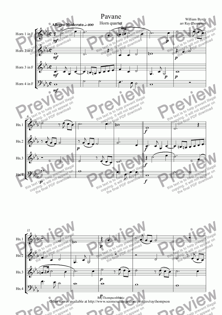 page one of Byrd: Pavane (The Earl of Salisbury) arr. horn quartet
