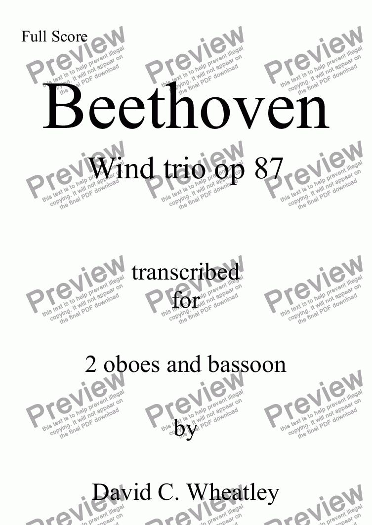 page one of Beethoven - Wind Trio opus 87 transcribed for 2 oboes and bassoon by David Wheatley