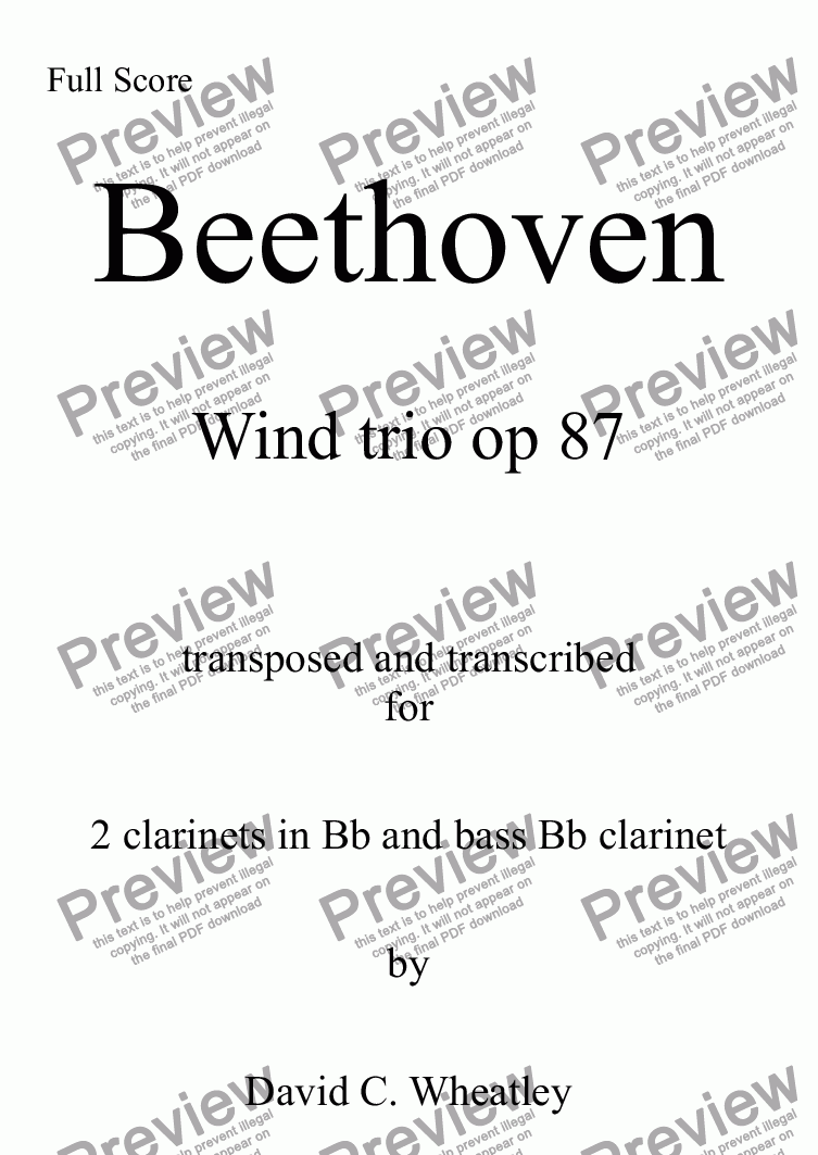 page one of Beethoven - Wind Trio opus 87 transcribed for clarinet trio (2xBb+bass) by David Wheatley