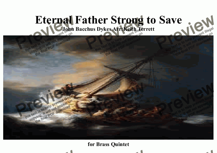 page one of Eternal Father Strong to Save for Brass Quintet (with last verse)