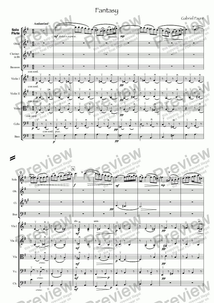 page one of Faure Fantasy for flute & small orchestra
