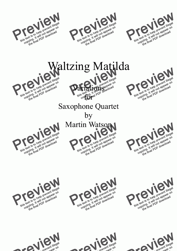 page one of Waltzing Matilda Variations for Saxophone Quartet
