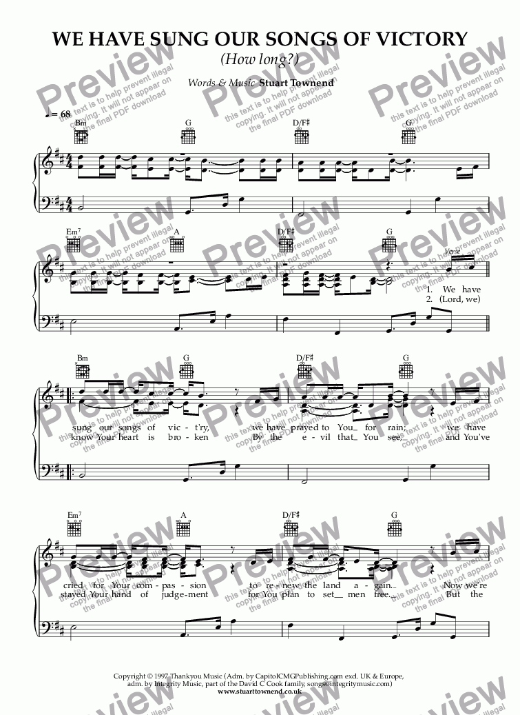WE HAVE SUNG OUR SONGS OF VICTORY (How long?) for Voice + keyboard by  Stuart Townend - Sheet Music PDF file to download