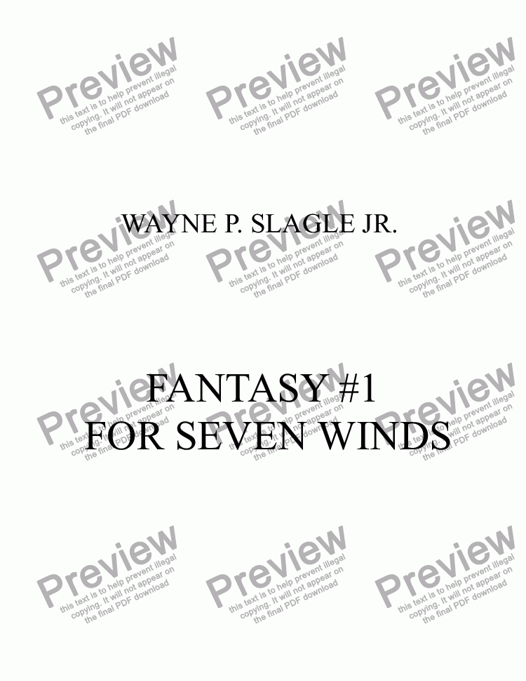 page one of FANTASY #1  FOR SEVEN WINDS