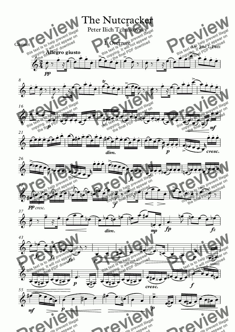 page one of The Nutcracker Clarinet