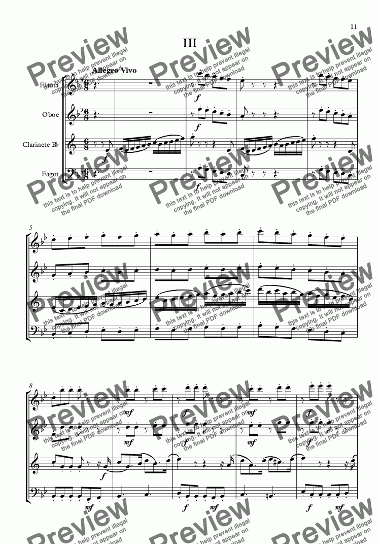 page one of Woodwind Quartet (Mov.III)