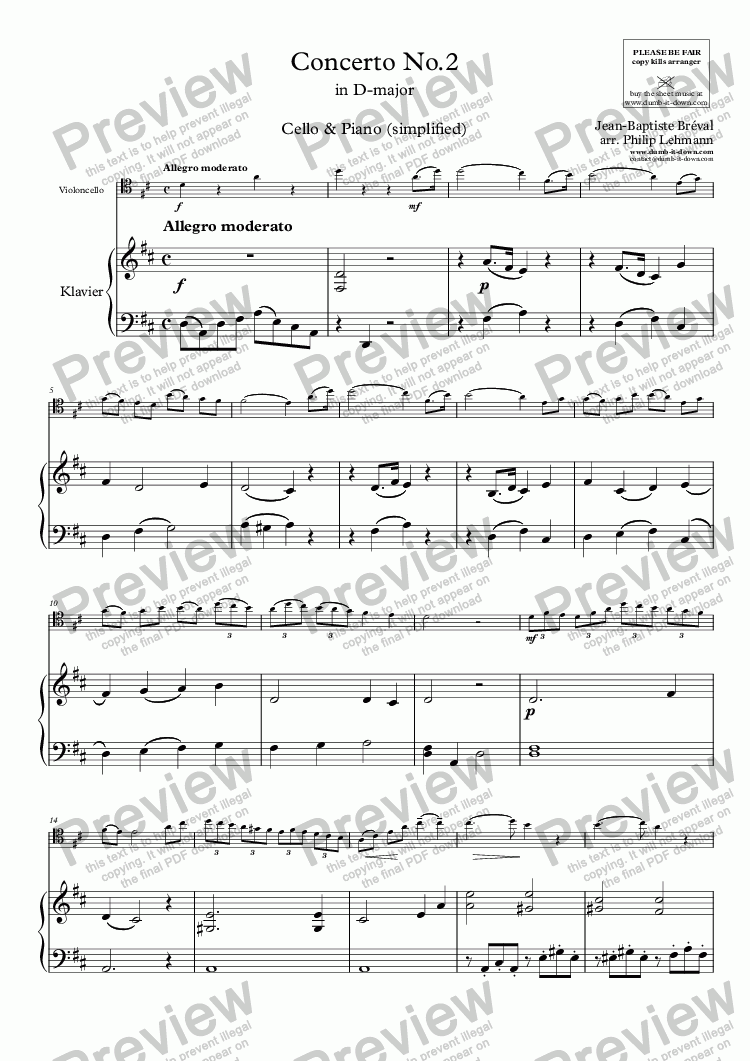 page one of Bréval, J.B. - Cello Concerto No. 2 in D - for Cello (orig.) & Piano (simplified)