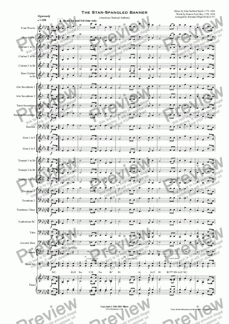 page one of The Star-Spangled Banner (American National Anthem) Concert Band