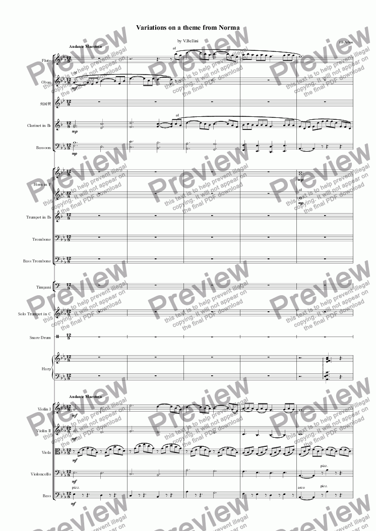 page one of Variations on a theme from Norma