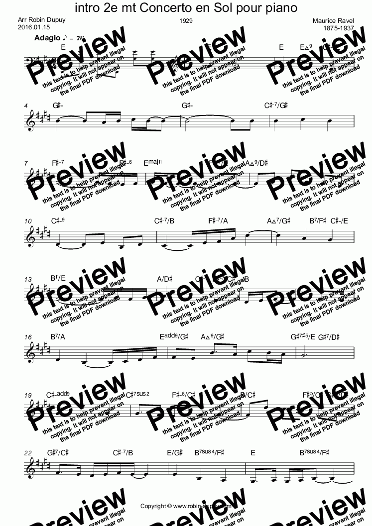 Ravel Concerto En Sol Pour Piano Intro 2e Mouvement Pdf Lead Sheet Melody Chords For Leadsheets By Maurice Ravel 1875 1937 Sheet Music Pdf
