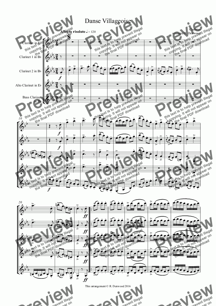 page one of Chabrier - Danse Villageoise for advanced clarinet quintet (Eb,2 Bb, Alto & Bass)