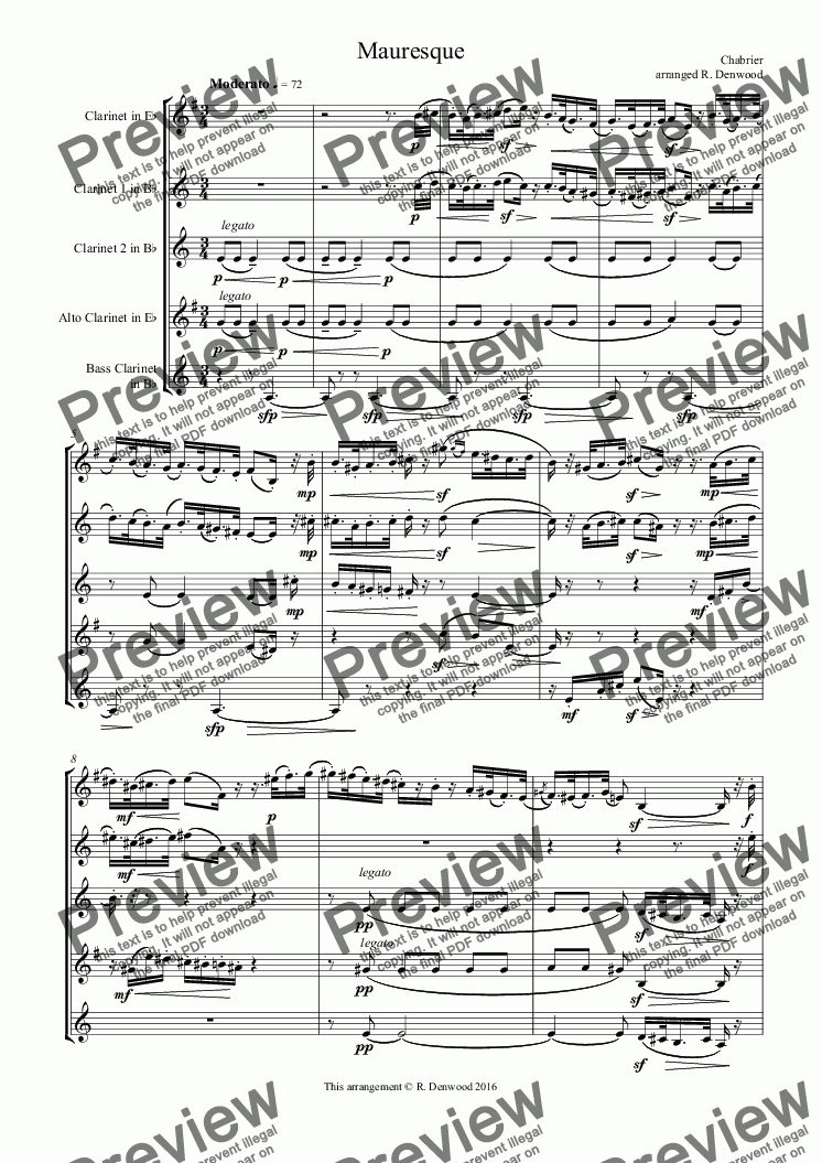 page one of Chabrier - Mauresque for advanced clarinet quintet (Eb, 2Bb, Alto & Bass)