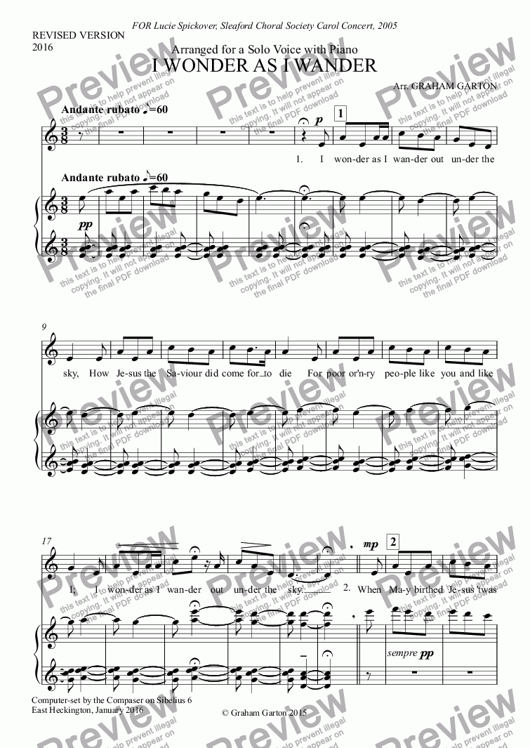 page one of CAROL - 'I WONDER AS I WANDER' - REVISED VERSION 2016 - for Solo Voice with PianoASALTTEXT