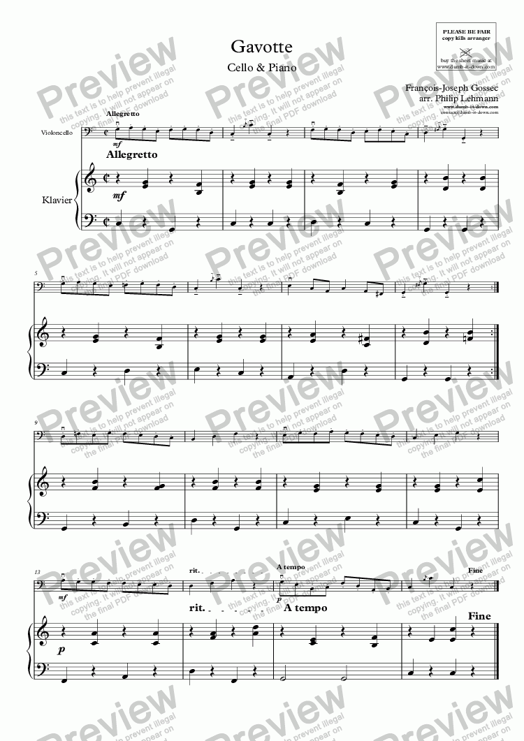 page one of Gossec, F.J. - Gavotte in C (orig. G) - for Cello (orig.) & Piano (simplified)ASALTTEXT