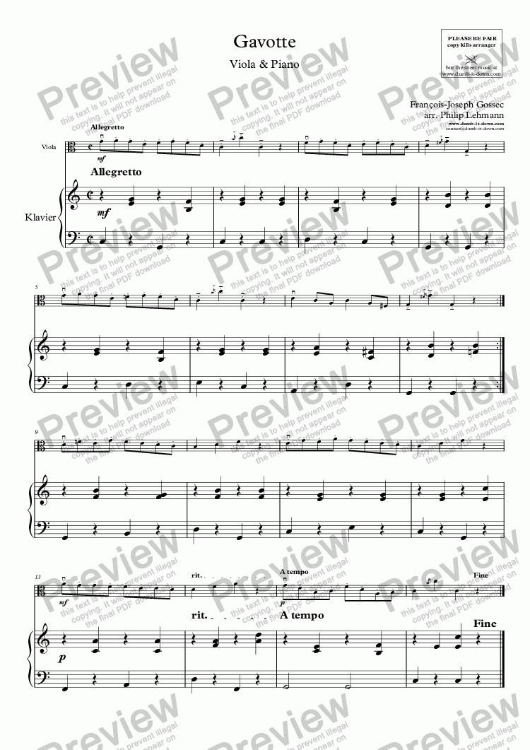 page one of Gossec, F.J. - Gavotte in C (orig. G) - for Viola (orig.) & Piano (simplified)ASALTTEXT