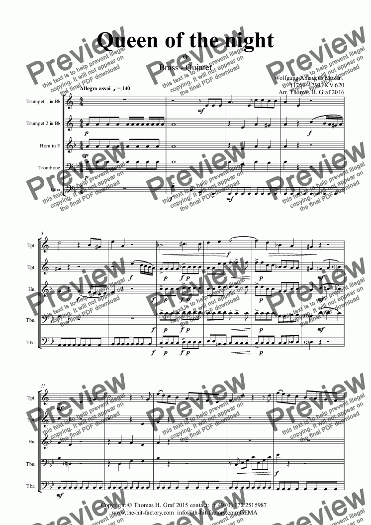 page one of The Magic Flute - Mozart - Queen of the night - Brass QuintetASALTTEXT