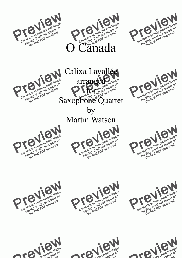 page one of O Canada for Saxophone Quartet