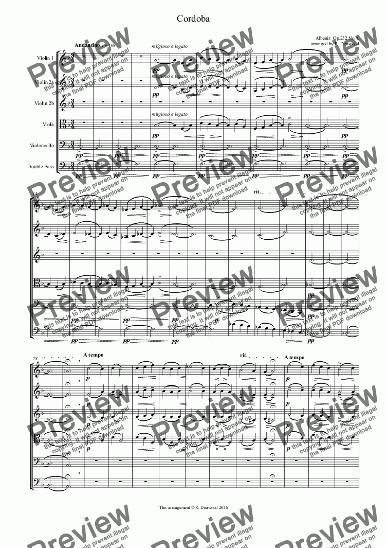 page one of Albeniz - Cordoba for String Orchestra