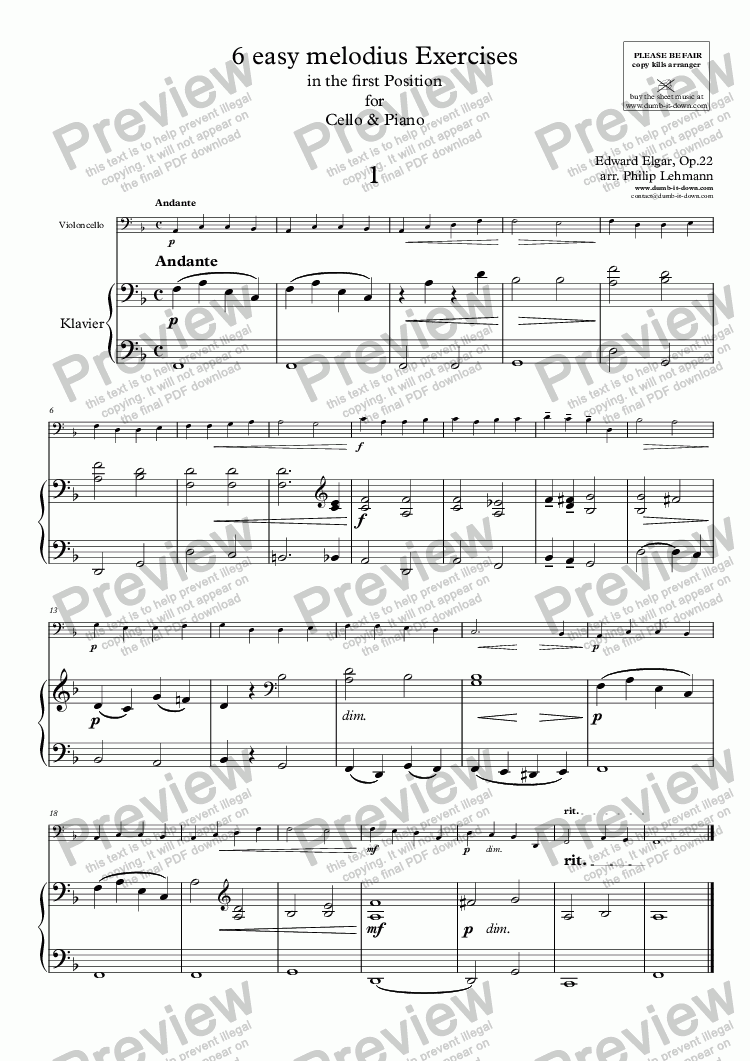 page one of Elgar, E. - 6 easy melodius Exercises for Cello, Op.22 (orig.) & Piano (simplified)