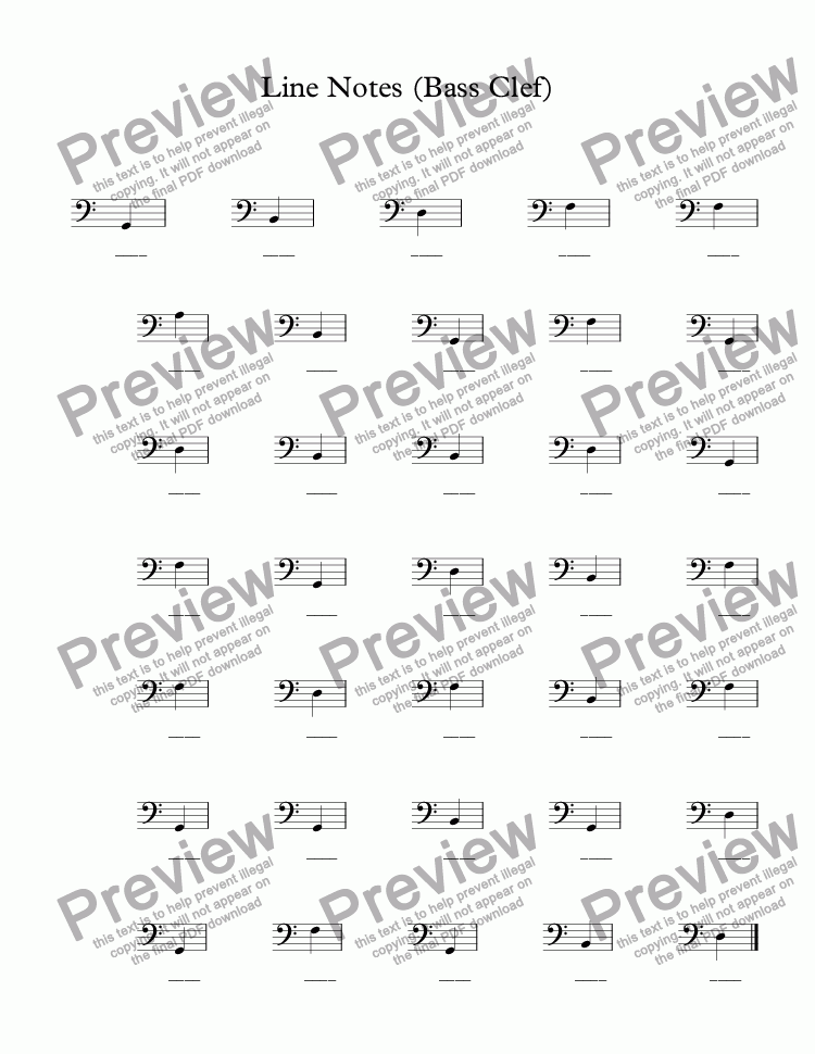 page one of Name the notes - Line Notes (Bass Clef)