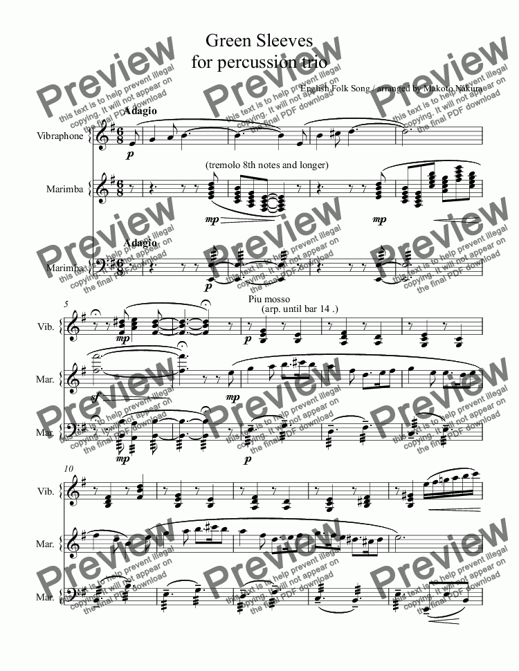 page one of Green Sleeves for percussion trio 「グリーンスリーブス」