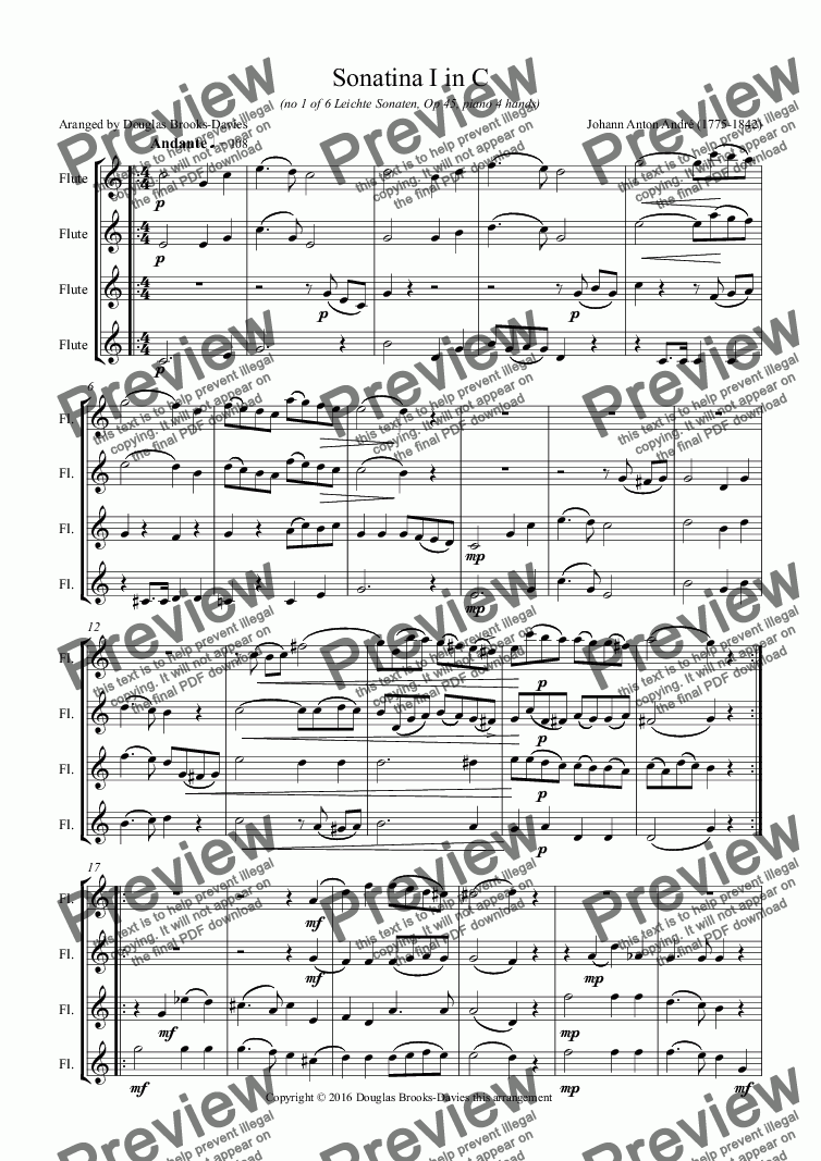 page one of André, Johann Anton: Sonatina I in C (Op. 45) arranged for 4 concert flutes in C