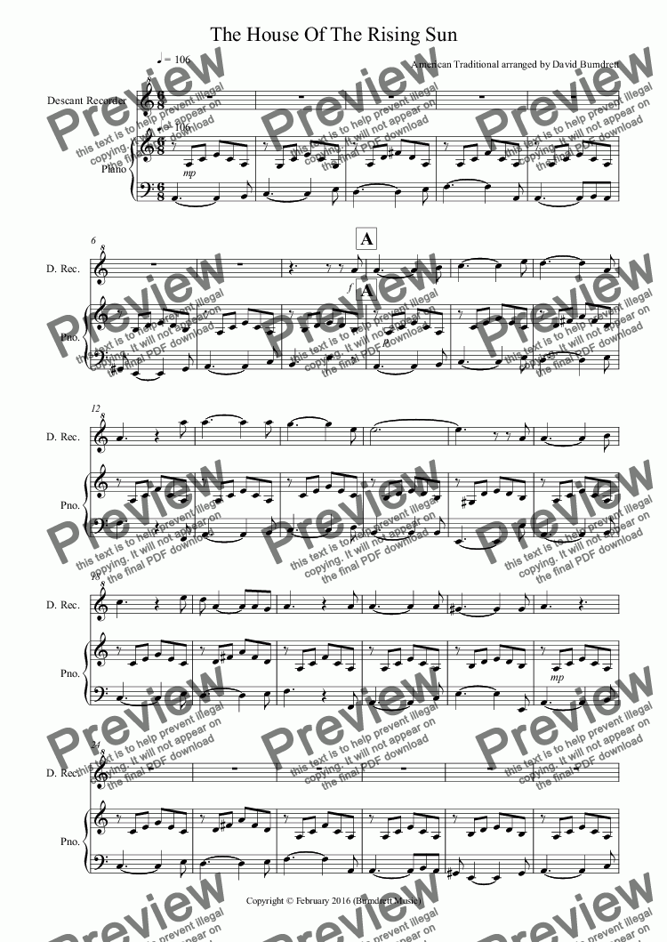 page one of House Of The Rising Sun for Descant Recorder and Piano