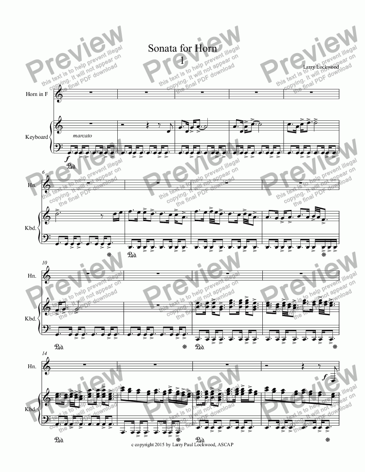 page one of Sonata for Horn