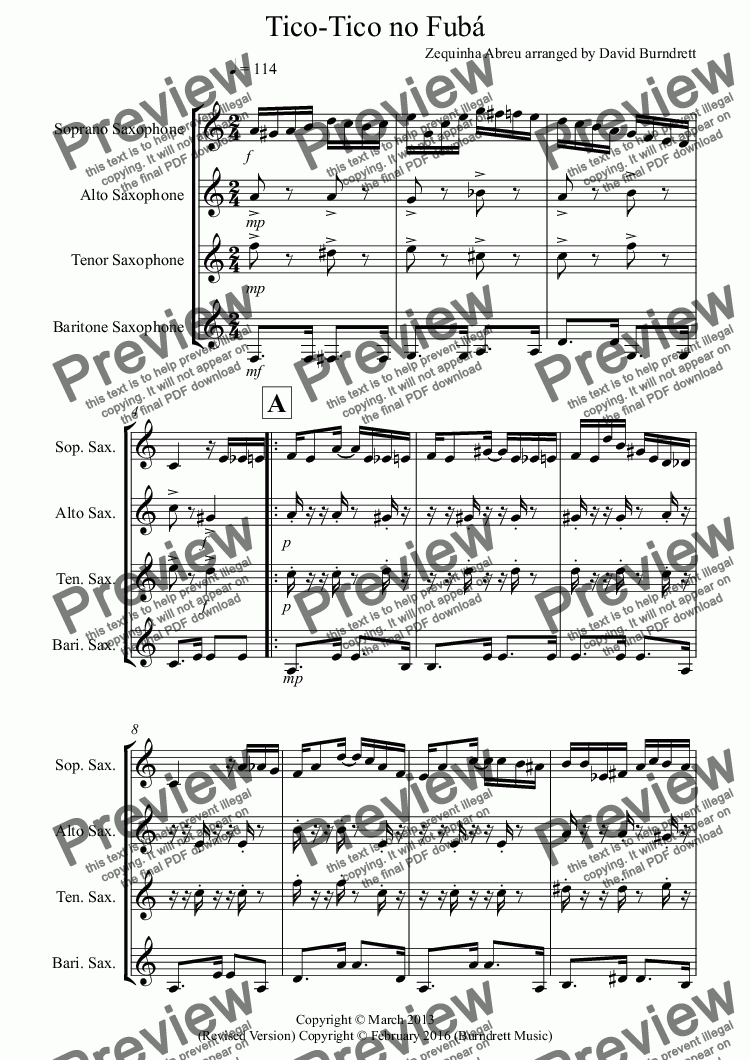 page one of Tico Tico for Saxophone Quartet