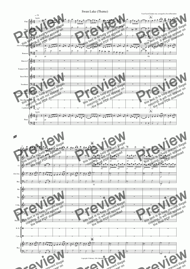 page one of Swan Lake Theme for School Orchestra