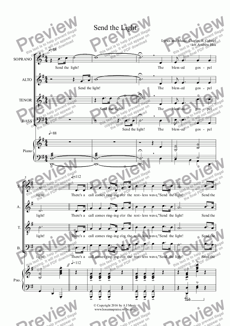 page one of Send the Light - Choir