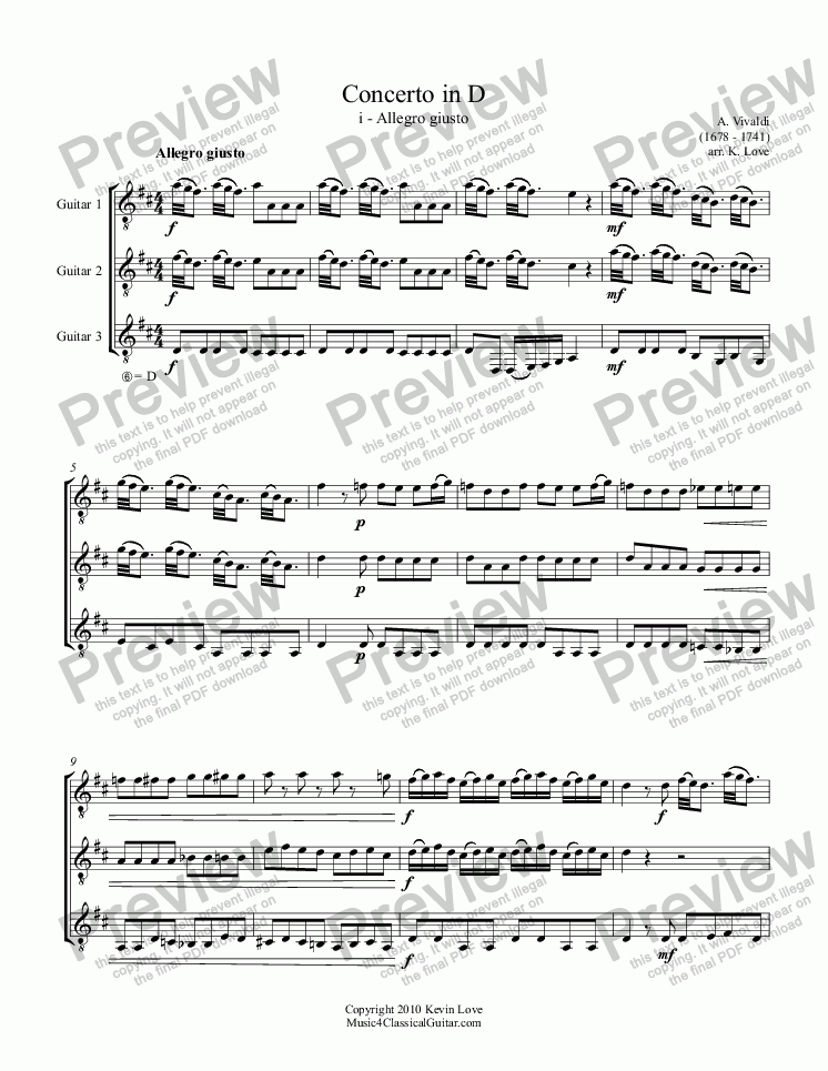 page one of Concerto in D - i - Allegro guisto