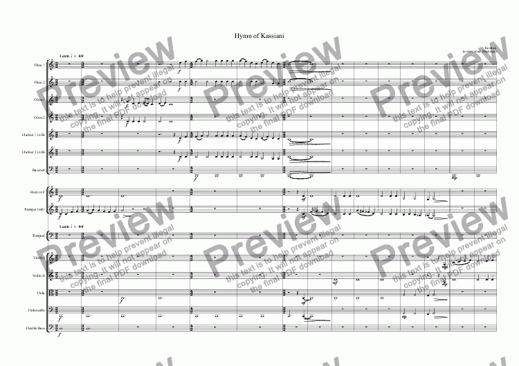 Hymn of Kassiani for Orchestra by Kassiani - Sheet Music PDF file to  download