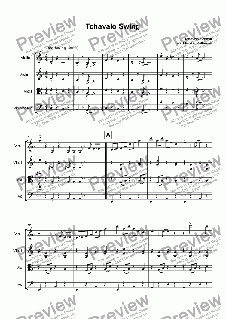 page one of Tchavalo Swing
