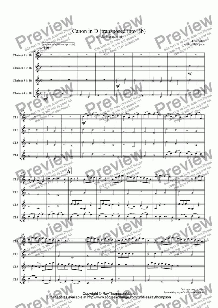 Pachelbel: Canon in D arr. Clarinet Quartet - Sheet Music