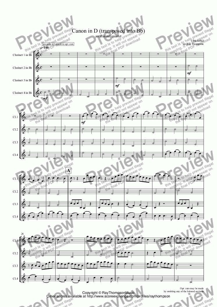 page one of Pachelbel: Canon in D arr. Clarinet Quartet