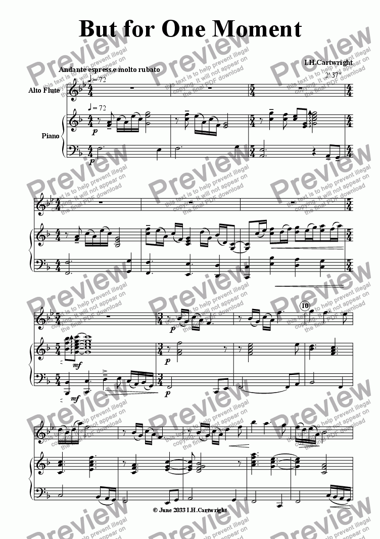page one of But for One Moment for Alto flute & Piano