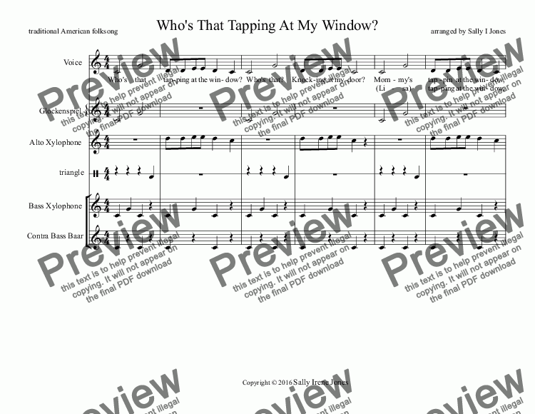 Who's That Tapping At My Window? for Orff ensemble by traditional American  folk song - Sheet Music PDF file to download