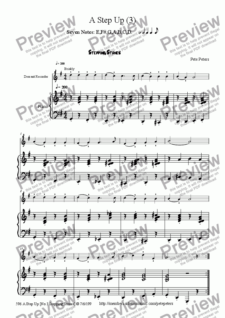 page one of Crinkumcrankum Part 3 [Stepping Stones] beginner recorder