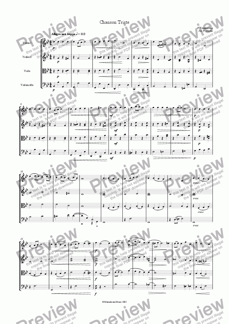 Chanson Triste For String Quartet By P Tchaikovsky Sheet Music Pdf File To Download
