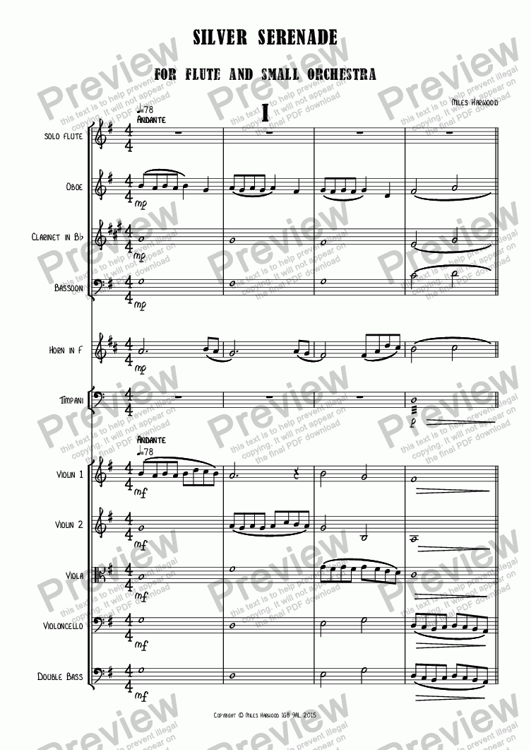 page one of Silver Serenade  for flute and small orchestra Op.10