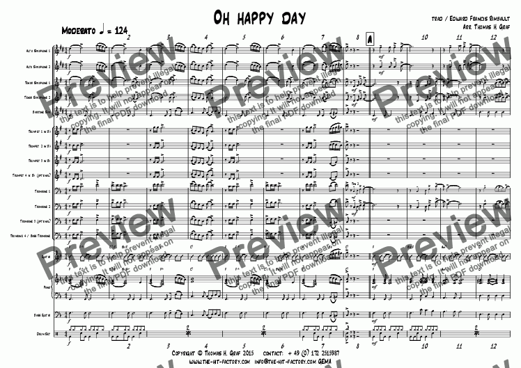 page one of Oh happy day - Big Band