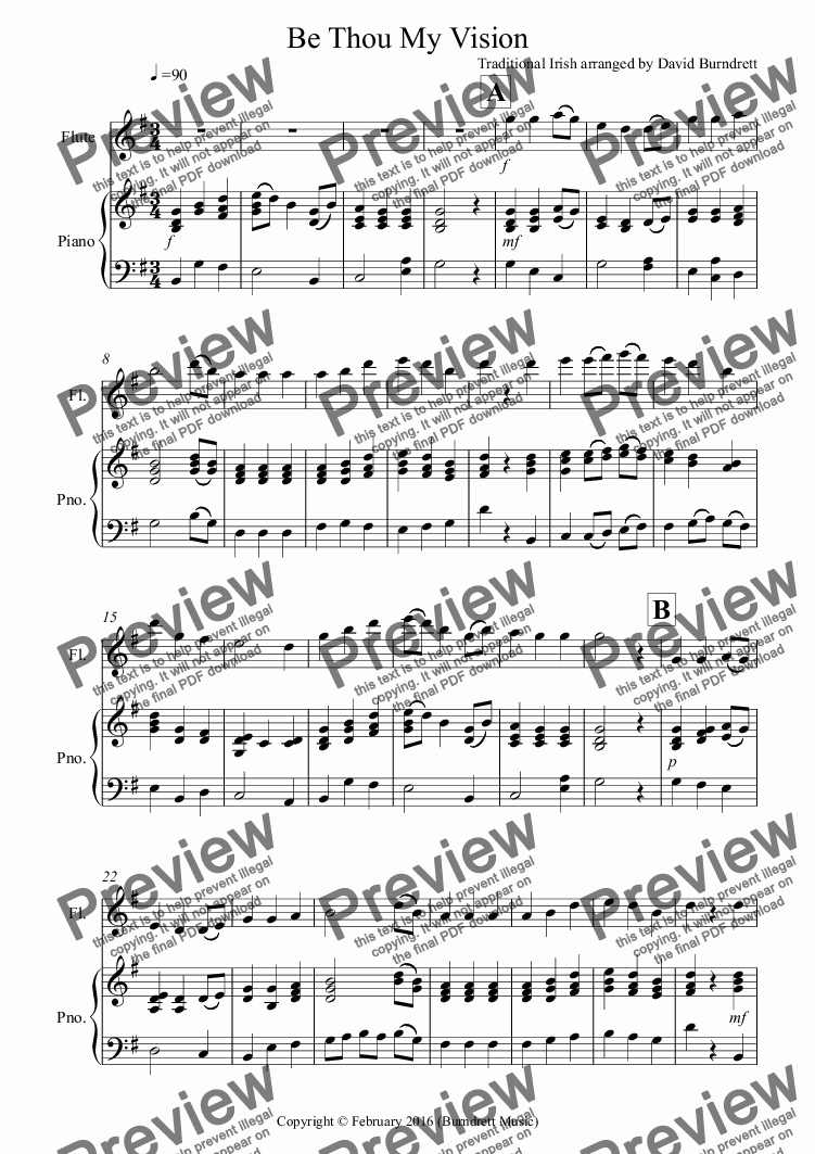 page one of Be Thou My Vision for Flute and Piano