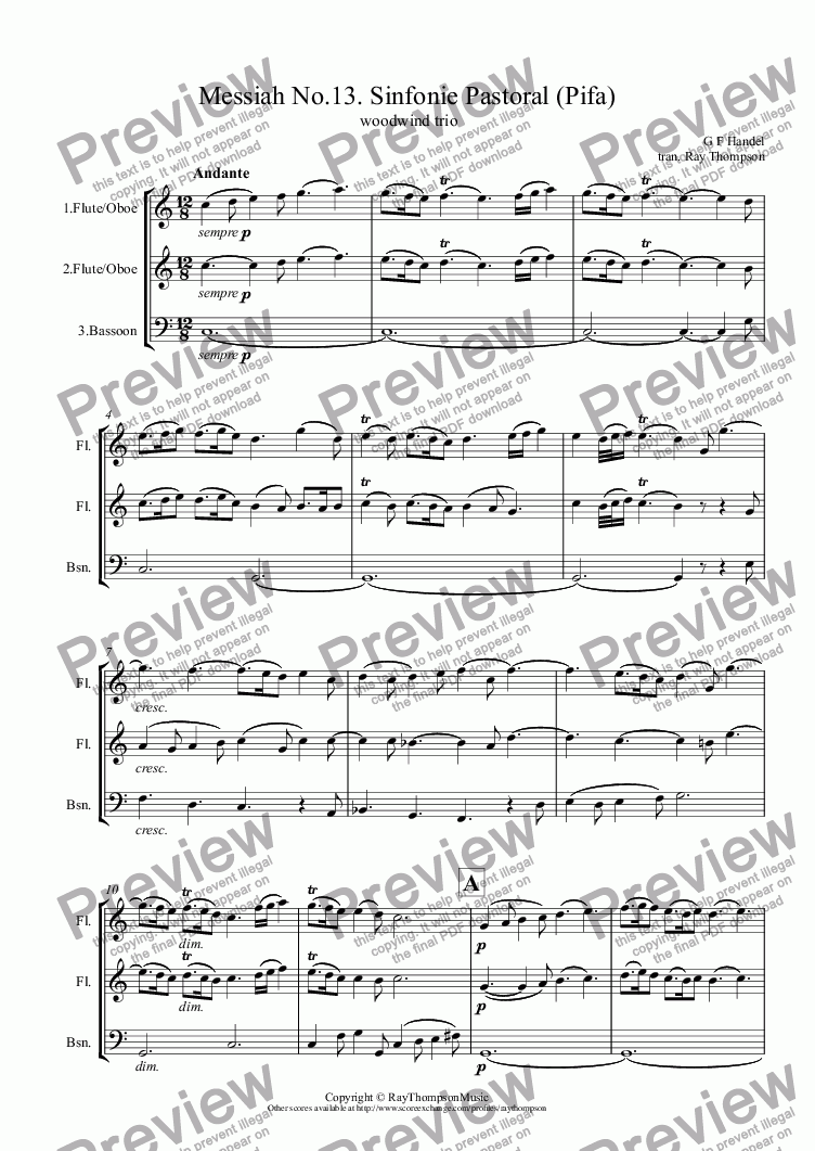 page one of Handel: Sinfonie Pastoral (Pastoral Symphony) (Pifa)(Messiah) arranged woodwind trio (flute/oboe/clarinet/bassoon/cor anglais/bass clarinet)ASALTTEXT